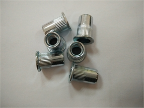 steel flat head knurled M6 rivet nut