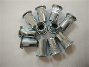 steel flat head knurled M8 rivet nut